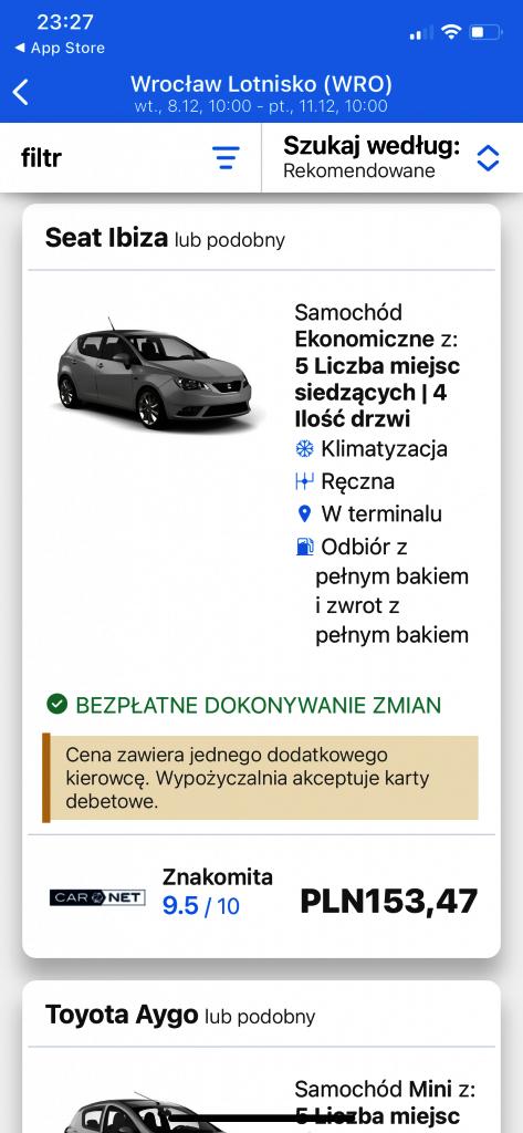 Rentalcars - wyniki wyszukiwania