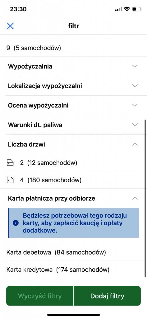 Rentalcars - kryteria wyszukiwania
